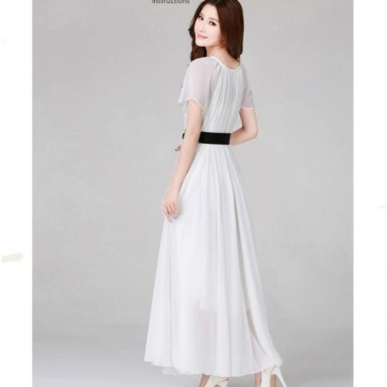 White Color Women Fashion Bohemian Beach Maxi Chiffon Dress WC-42W |image
