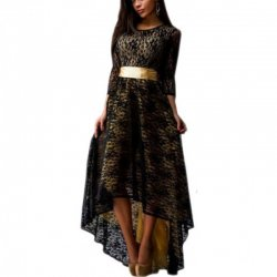 Women Black Lace Hem Asymmetric Maxi Dress WC-44BK