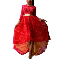 Women Red Lace Hem Asymmetric Maxi Dress WC-44RD