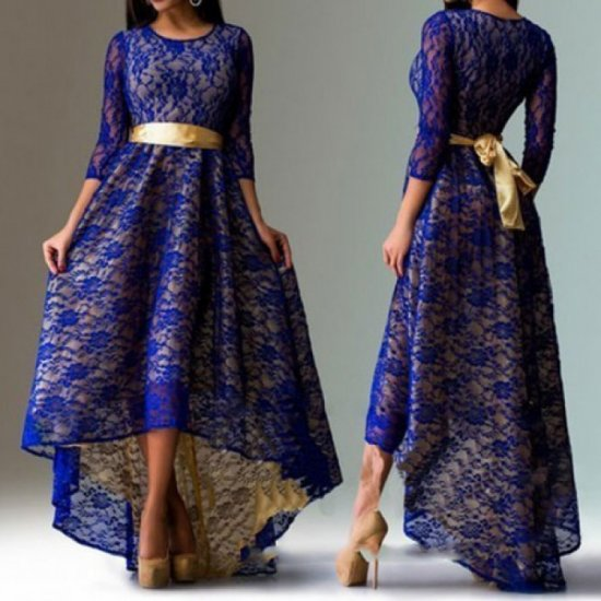 Women Navy Blue Lace Hem Asymmetric Maxi Dress WC-44NB