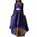 Women Navy Blue Lace Hem Asymmetric Maxi Dress WC-44NB image