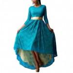 Women Blue Lace Hem Color Asymmetric Maxi Dress WC-44BL image