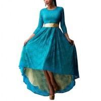 Women Blue Lace Hem Color Asymmetric Maxi Dress WC-44BL