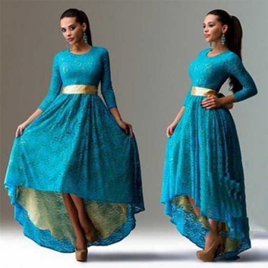 Women Blue Lace Hem Color Asymmetric Maxi Dress WC-44BL image