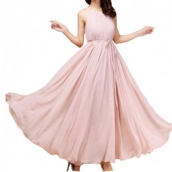 Women Fashion Pink Color Beach Bohemian Elegant Chiffon Maxi Dress WC-43PK