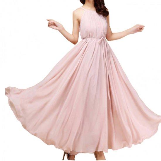 Women Fashion Pink Color Beach Bohemian Elegant Chiffon Maxi Dress WC-43PK image