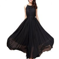 Women Fashion Black Color Beach Bohemian Elegant Chiffon Maxi Dress WC-43BK