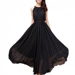 Women Fashion Black Color Beach Bohemian Elegant Chiffon Maxi Dress WC-43BK