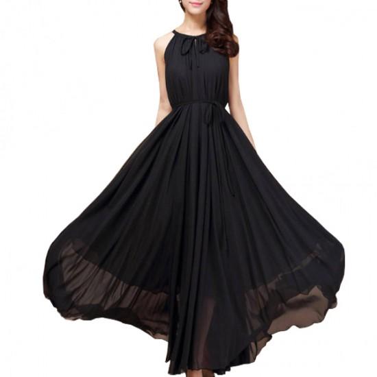 Women Fashion Black Color Beach Bohemian Elegant Chiffon Maxi Dress WC-43BK image