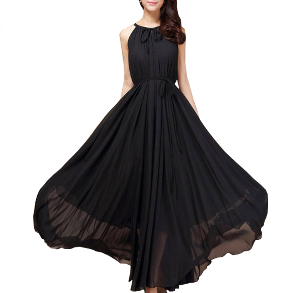 Women Fashion Black Color Beach Bohemian Elegant Chiffon Maxi Dress WC-43BK image