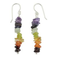 Multi Color Mantra Artisan Crafted 7 Stone Chakra Earrings ANDE-28