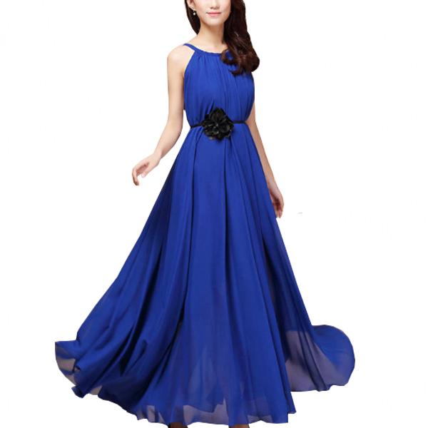 Women Fashion Blue Color Beach Bohemian Elegant Chiffon Maxi Dress WC-43BL image