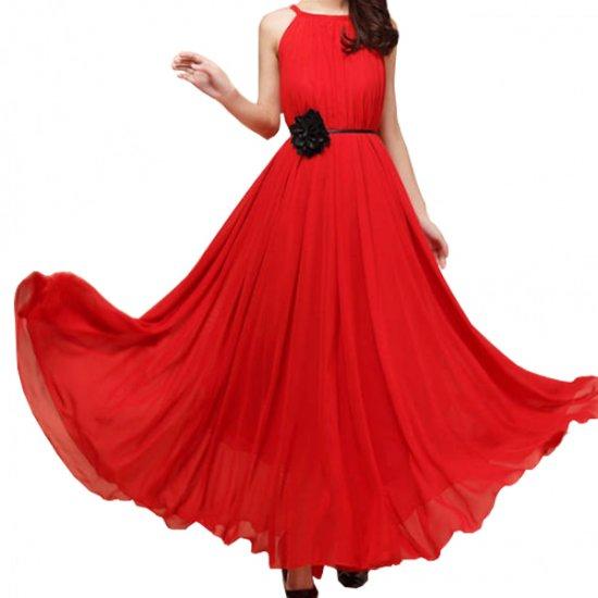 Women Fashion Red Color Beach Bohemian Elegant Chiffon Maxi Dress WC-43RD image