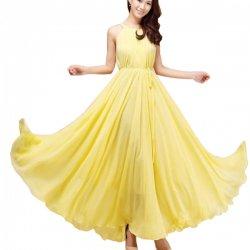 Women Fashion Yellow Color Beach Bohemian Elegant Chiffon Maxi Dress WC-43Y