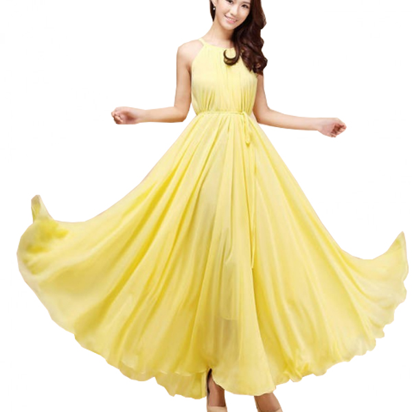 Women Fashion Yellow Color Beach Bohemian Elegant Chiffon Maxi Dress WC-43Y image