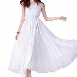 Women Fashion White Color Beach Bohemian Elegant Chiffon Maxi Dress WC-43W