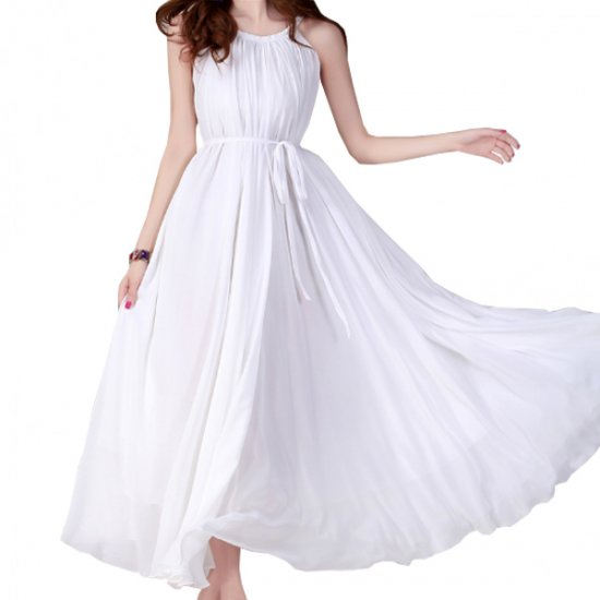 Women Fashion White Color Beach Bohemian Elegant Chiffon Maxi Dress WC-43W