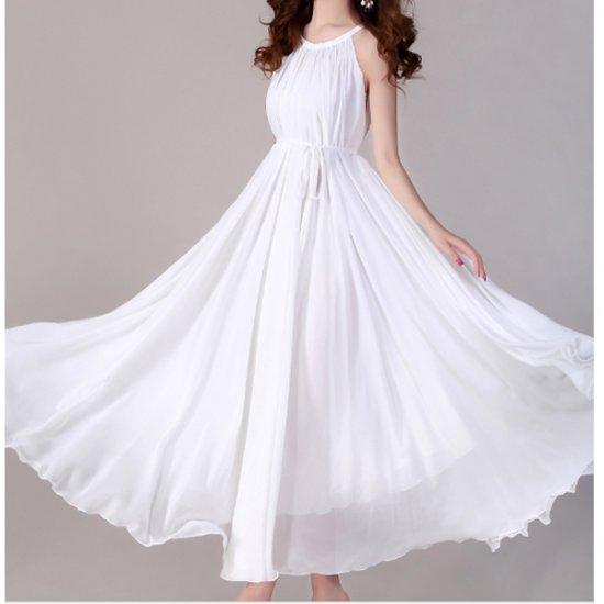 Women Fashion White Color Beach Bohemian Elegant Chiffon Maxi Dress WC-43W image