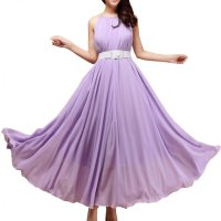 Women Fashion Purple Color Beach Bohemian Elegant Chiffon Maxi Dress WC-43PR