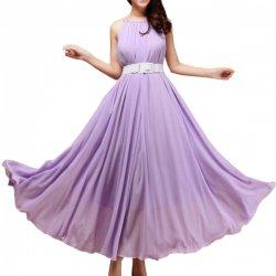 Women Fashion Purple Color Beach Bohemian Elegant Chiffon Maxi Dress WC-43PR