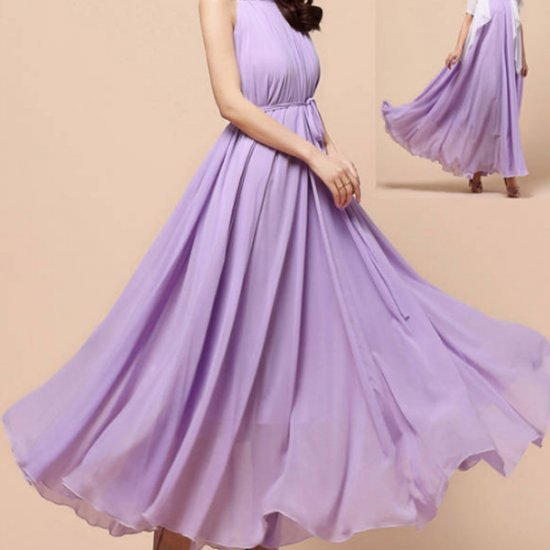 Women Fashion Purple Color Beach Bohemian Elegant Chiffon Maxi Dress WC-43PR image