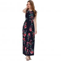 Women Fashion Black Color Digital Printing Sleeveless Maxi Dress WC-45BK