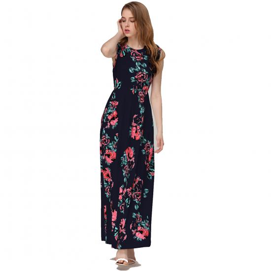 Women Fashion Black Color Digital Printing Sleeveless Maxi Dress WC-45BK image