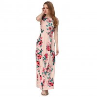 Women Fashion Pink Color Digital Printing Sleeveless Maxi Dress WC-45PK
