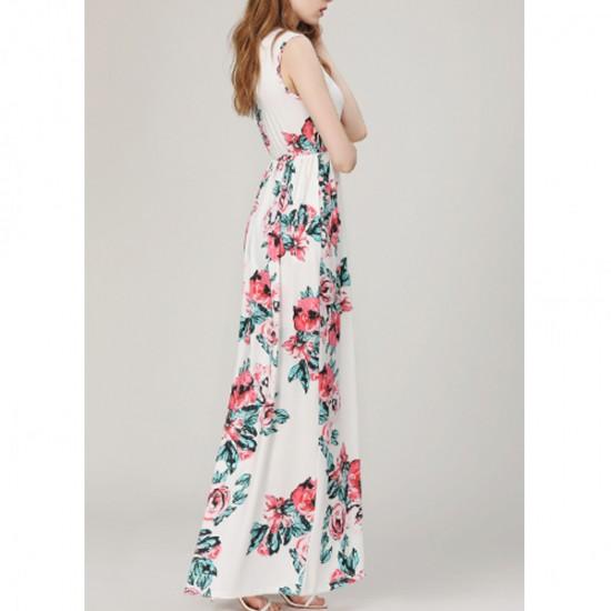 Women Fashion White Color Digital Printing Sleeveless Maxi Dress WC-45W image