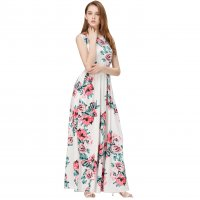Women Fashion White Color Digital Printing Sleeveless Maxi Dress WC-45W