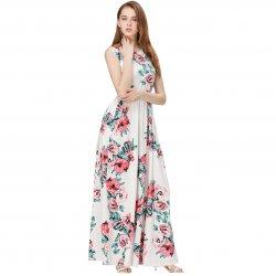 Women Fashion White Color Digital Printing Sleeveless Maxi Dress WC-45W