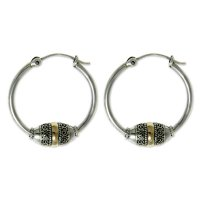 Lotus Seed Fair Trade Gold Accent and Sterling Hoop Earrings ANDE-31