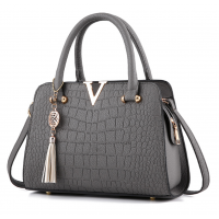 Solid Color Crocodile Pattern European Fashion Womens Handbag WB-17GR