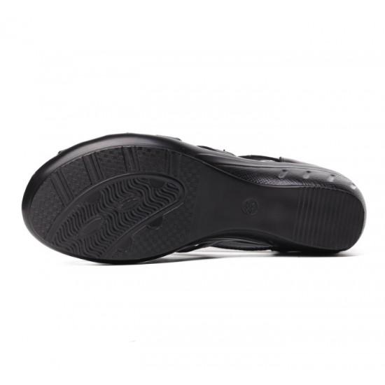 Women Fashion Black Color Fish Mouth Leather Shoes S-52 image