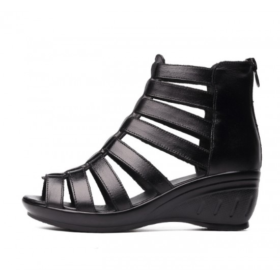 Women Fashion Black Color Fish Mouth Leather Shoes S-52 image