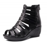 Women Fashion Black Color Fish Mouth Leather  Shoes S-52bk