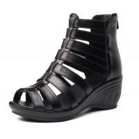 Women Fashion Black Color Fish Mouth Leather Shoes S-52