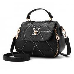Women Fashion V Small Square Shape Black Color Handbag WB-20BK