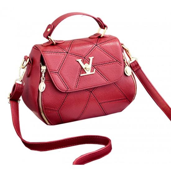 Women Fashion V Small Square Shape Red Color Handbag WB-20RD image
