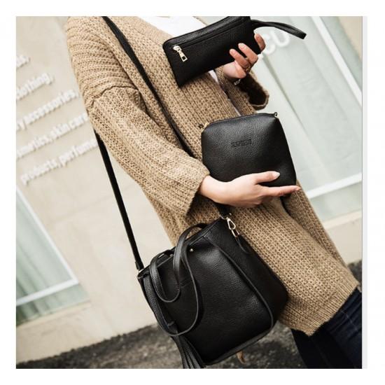 Women Fashion Elegant Three-Pece Black Color Shoulder Handbag WB-22BK image
