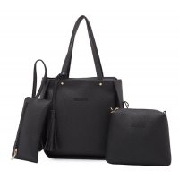 Women Fashion Elegant Three-Pece Black  Color Shoulder Handbag WB-22BK