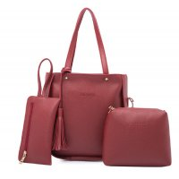 Women Fashion Elegant Three Piece Red Color Shoulder Handbag WB-22RD