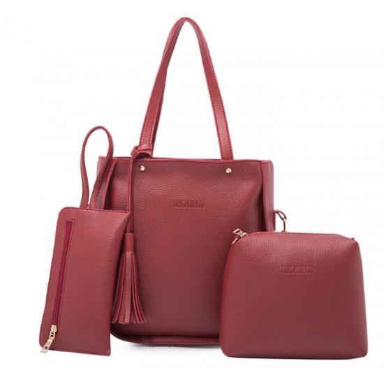 Women Fashion Elegant Three Piece Red Color Shoulder Handbag WB-22RD image