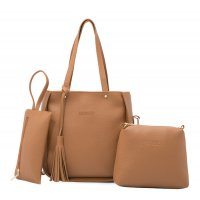 Women Fashion Elegant Three-Pece Brown Color Shoulder Handbag WB-22BR