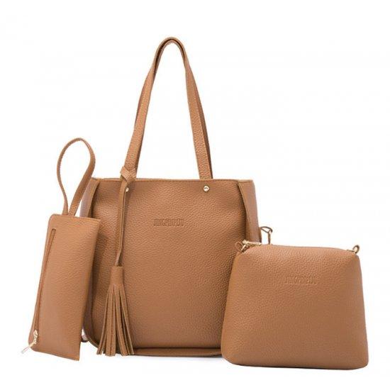 Women Fashion Elegant Three-Pece Brown Color Shoulder Handbag WB-22BR image