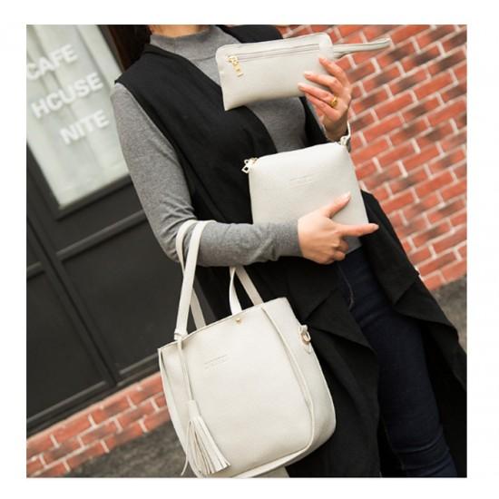Women Fashion Elegant Three-Pece Grey Color Shoulder Handbag WB-22GR image