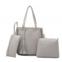 Women Fashion Elegant Three-Pece Grey Color Shoulder Handbag WB-22GR