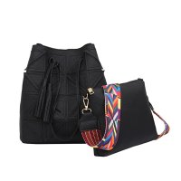 Women Fashion Triangle Fight Water Bucket Black Color Handbag WB-24BK