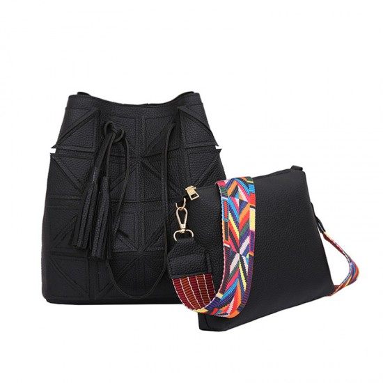 Women Fashion Triangle Fight Water Bucket Black Color Handbag WB-24BK image