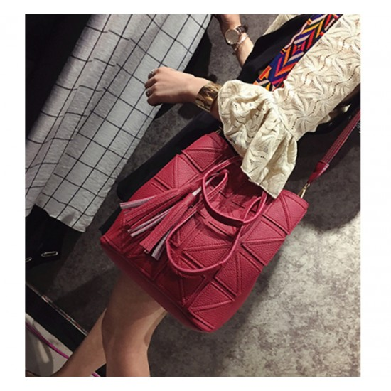 Women Fashion Triangle Fight Water Bucket Red Color Handbag WB-24RD image